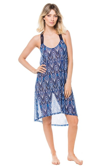 Item - Blue Multi Java Round Neck Mesh Dress Cover-up/Sarong Size 6 (S)