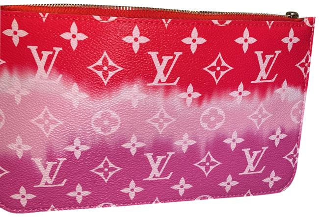 Item - Wristlet Pouch Soirée Red Pink White Leather Clutch