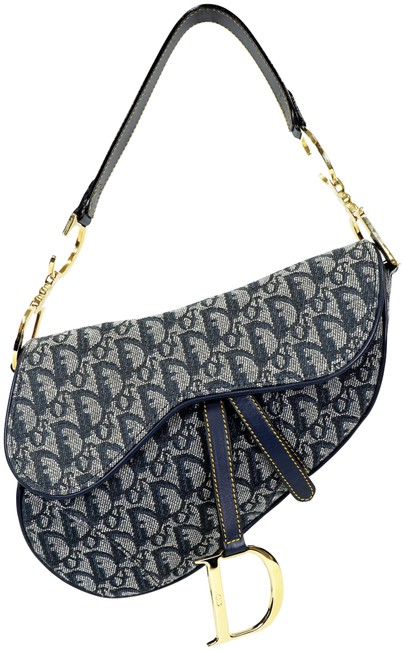 Item - Vintage Oblique Saddle In Blue Canvas Shoulder Bag