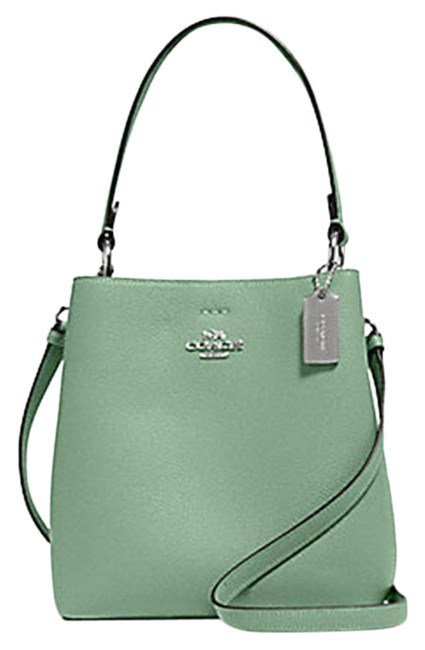 Item - Bucket 1011 Small Town In Washed Green Leather Shoulder Bag