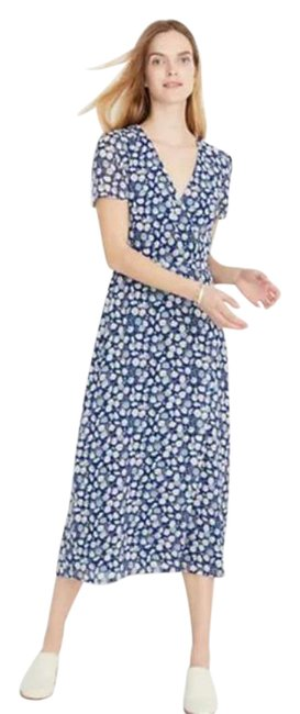 Item - Blue White Wrap-front Mid-length Casual Maxi Dress Size 8 (M)