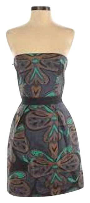 Item - Gray XS Floral Butterfly Strapless Extra Small Cocktail Dress Size 2 (XS)