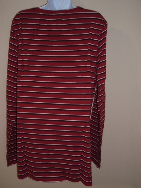 Long Sally Tall/LTS T Shirt Rose Pink & Red Stripe