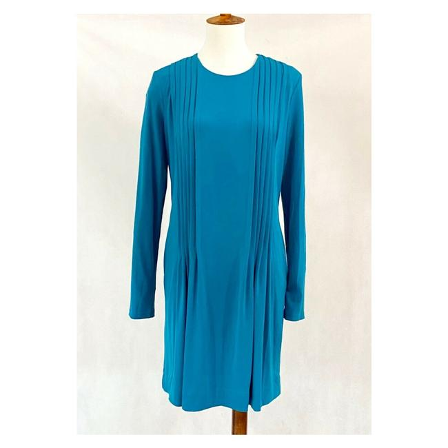 Item - Blue Jersey Pintucked Knit Mid-length Work/Office Dress Size 6 (S)