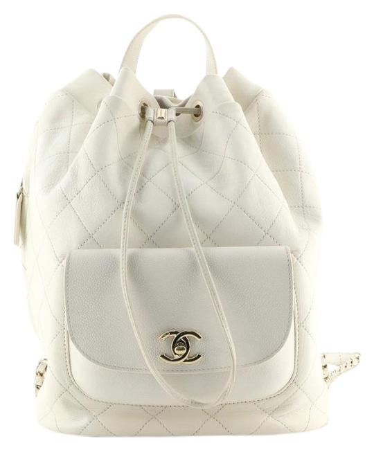 Item - Daily Round Quilted Calfskin with Caviar Neutral Leather Backpack