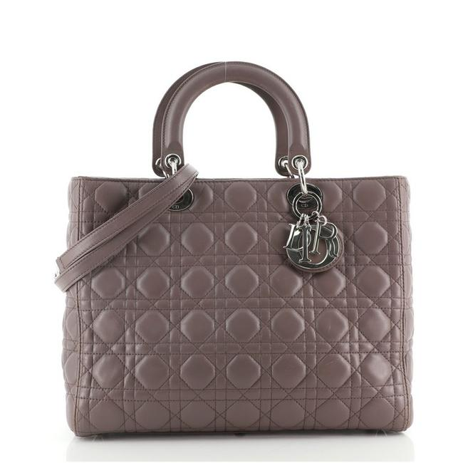 Item - Lady Cannage Quilt Lambskin Large Gray Leather Shoulder Bag