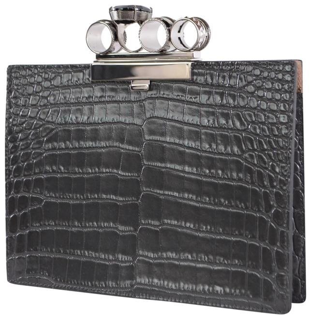Item - Jewel Ring Crystal Croc Embossed Grey Leather Clutch