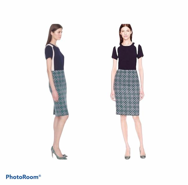 Item - Pink and Blue and Green Geometric Print Pencil Skirt Size 8 (M, 29, 30)