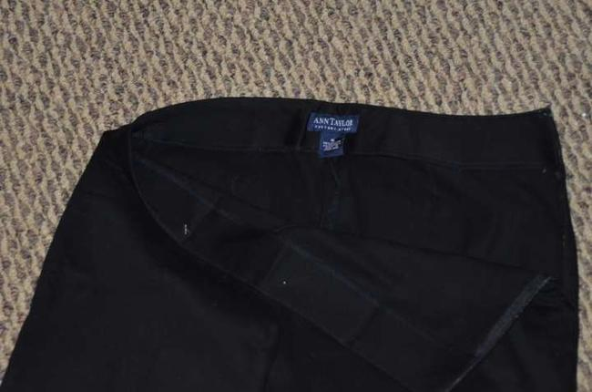 Ann Taylor Black Pants Side Zipper Sateen Capris Black Sateen