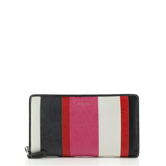 Item - Black Multicolor Pink White Bazar Zip Around Striped Leather Long Wallet
