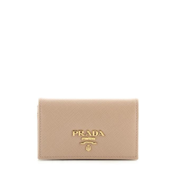 Item - Pink Flap Card Case Saffiano Leather Wallet