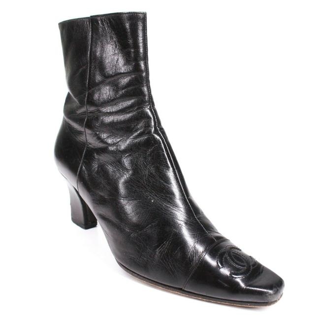 Item - Black Cc Cap Toe Heels Leather Ankle Zip 6.5 - Boots/Booties Size EU 37 (Approx. US 7) Regular (M, B)