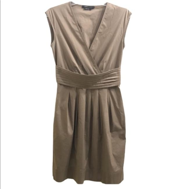 Item - Taupe/Light Brown Bcbg Maxazria Faux Wrap Short Work/Office Dress Size 0 (XS)
