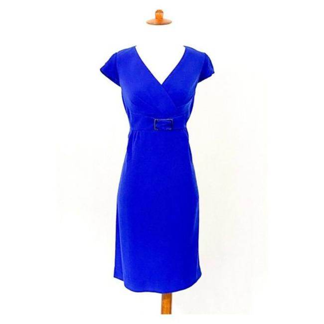 Item - Blue Cap Sleeve Buckle Front Mid-length Work/Office Dress Size 8 (M)