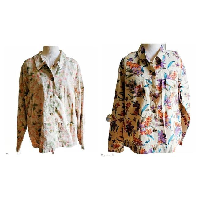Item - Cream Denim Floral Jacket Button-down Top Size 16 (XL, Plus 0x)