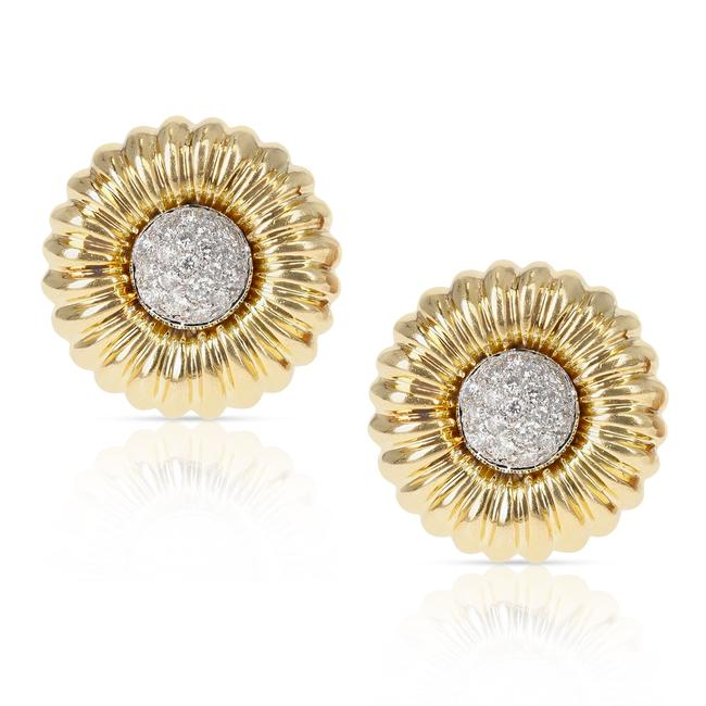 Item - 18k Yellow Gold 1 Inch Floral Circular Clip-on with Diamonds Earrings