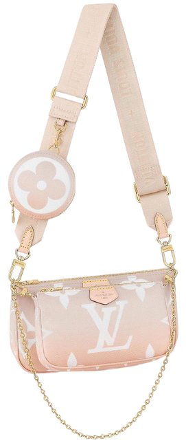 Item - Pochette Accessoires Multi By The Pool Mist Grey and Peach Canvas Cross Body Bag