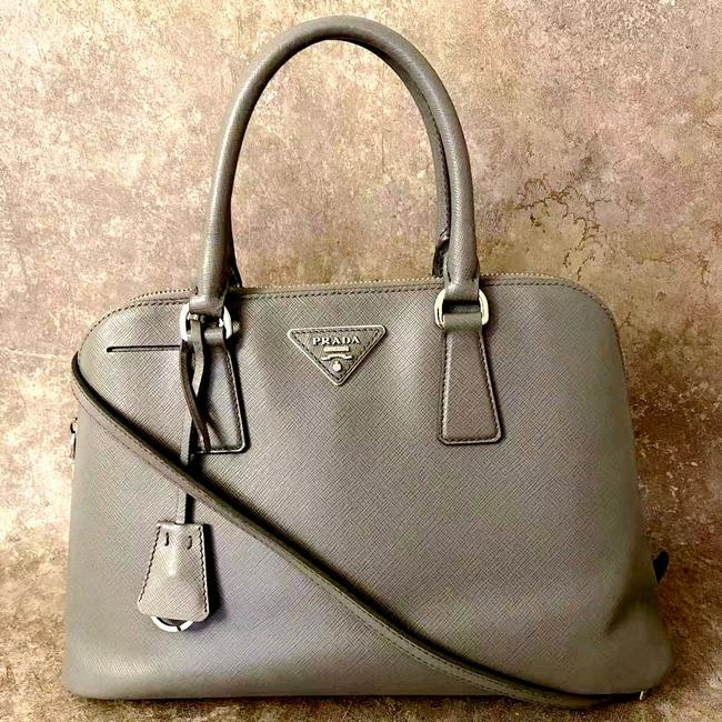 Item - Double Small Saffiano Nude Calfskin Gray Leather Satchel