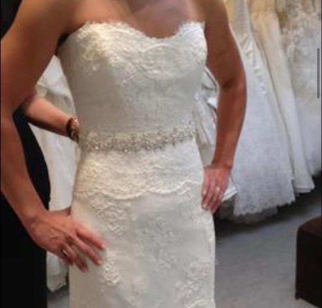 Monique Lhuillier Lace Sweetheart Sleeveless Lace Embroidered Embellished Fitted Empire Waist Flare Swarvoski Formal Wedding Dress Size 8 (M) Monique Lhuillier Lace Sweetheart Sleeveless Lace Embroidered Embellished Fitted Empire Waist Flare Swarvoski Formal Wedding Dress Size 8 (M) Image 5