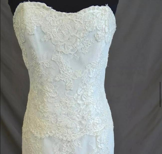 Monique Lhuillier Lace Sweetheart Sleeveless Lace Embroidered Embellished Fitted Empire Waist Flare Swarvoski Formal Wedding Dress Size 8 (M) Monique Lhuillier Lace Sweetheart Sleeveless Lace Embroidered Embellished Fitted Empire Waist Flare Swarvoski Formal Wedding Dress Size 8 (M) Image 7