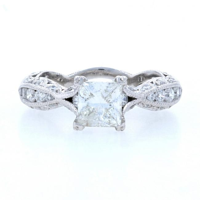 Item - White Diamond Engagement Platinum - Princess Cut 1.77ctw Ring