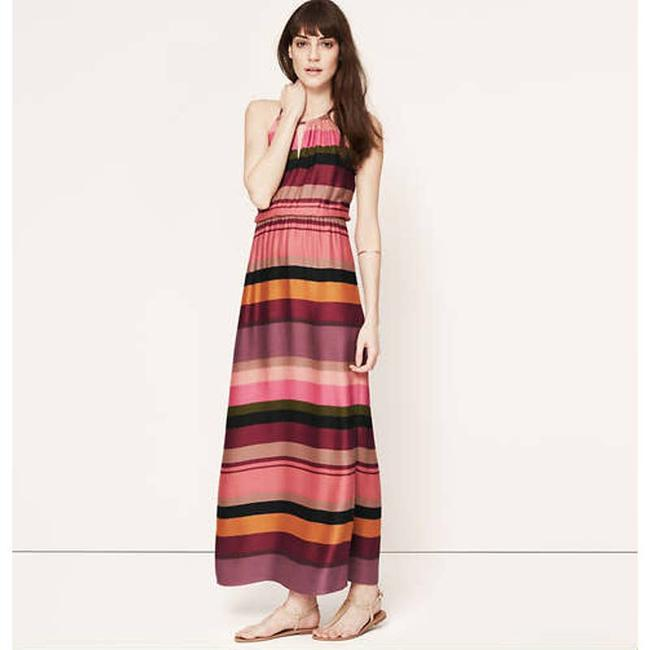 Item - Pink XS Striped Keyhole Halter Beach Coverup Casual Maxi Dress Size 2 (XS)