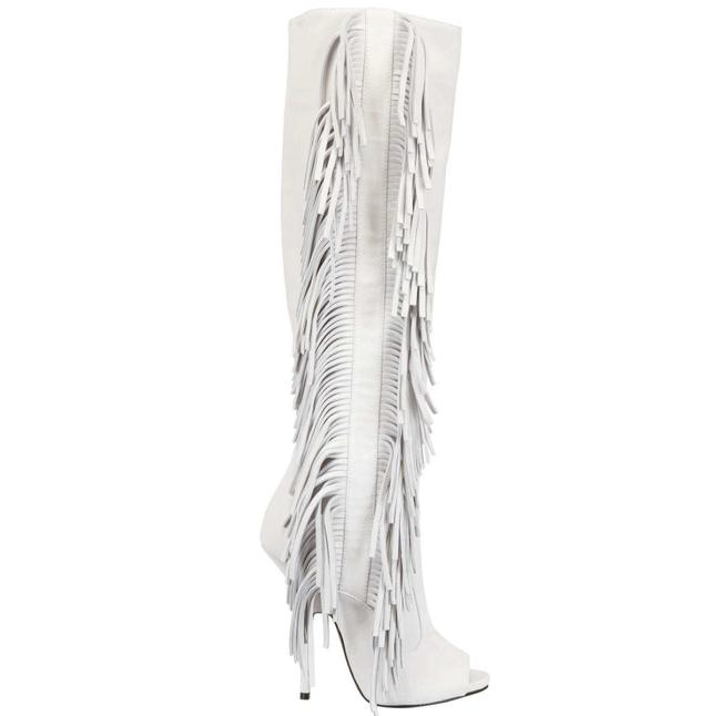 Item - White Women's 130mm Suede Fringe Peep Toe Boots/Booties Size EU 39 (Approx. US 9) Regular (M, B)