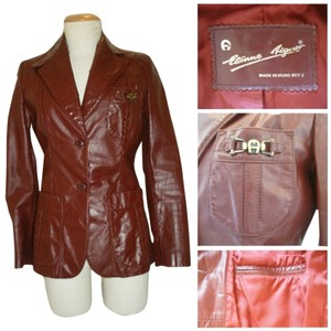Etienne Aigner Vintage Leather Sexy Fitted oxblood Blazer