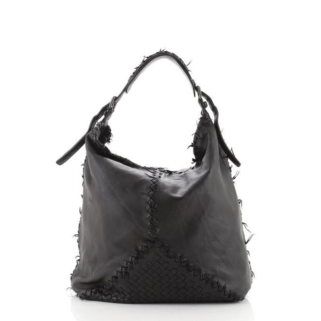 Item - Fuzzy with Intrecciato Detail Large Black Leather Hobo Bag