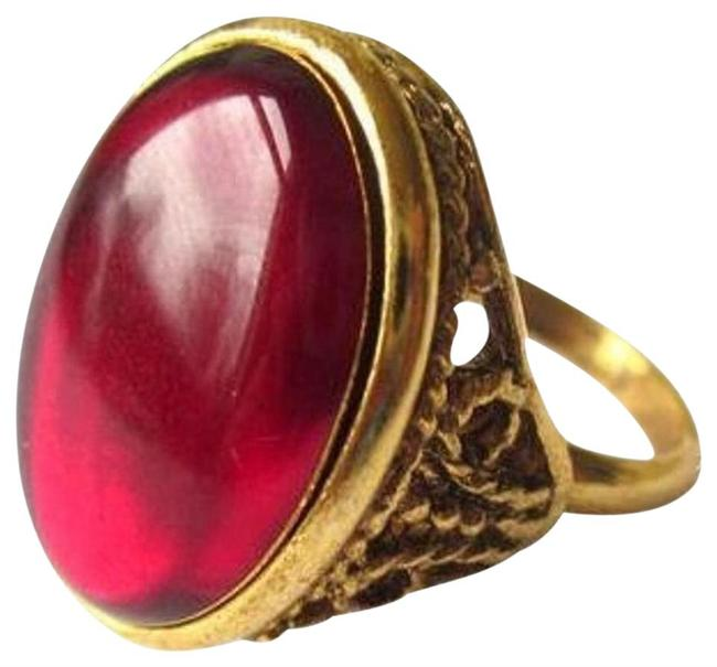 Item - Red 1930's Style Gold Tone Adjustable Ring
