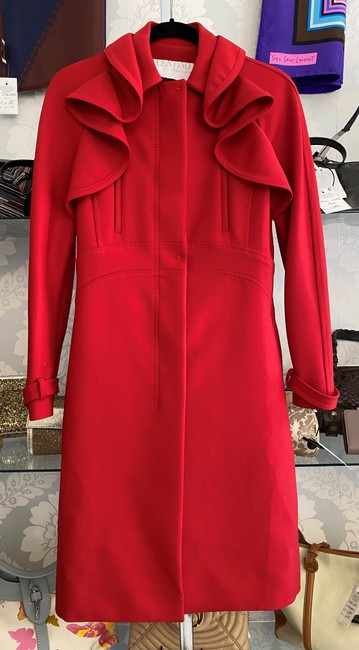Item - Red Ruffle Accent Wool Blend Coat Size 6 (S)
