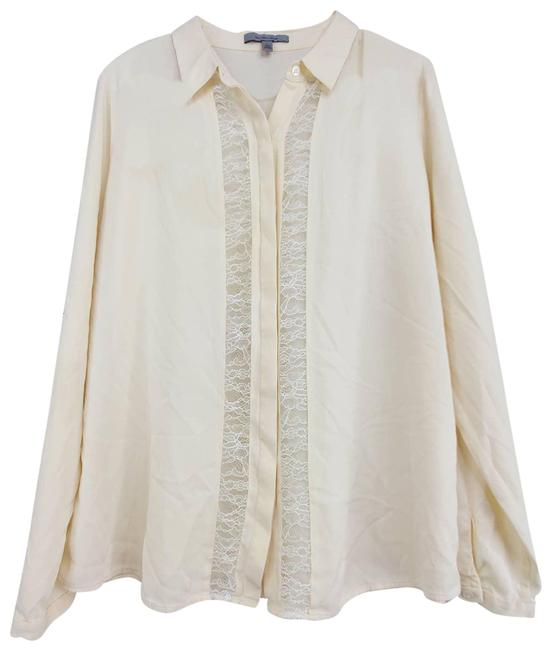 Item - Cream Silk Lace Button Up Long Sleeve Blouse Size 12 (L)