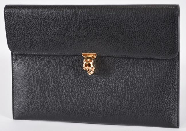 Item - Skull Clasp Envelope Purse Black Leather Clutch