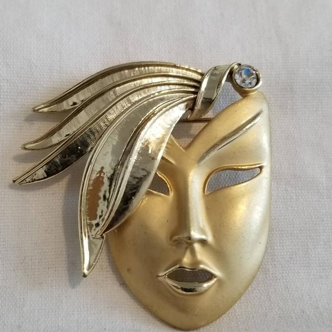 Vintage Gold 1980's Art Deco Face with Cz Brooch/Pin Vintage Gold 1980's Art Deco Face with Cz Brooch/Pin Image 1