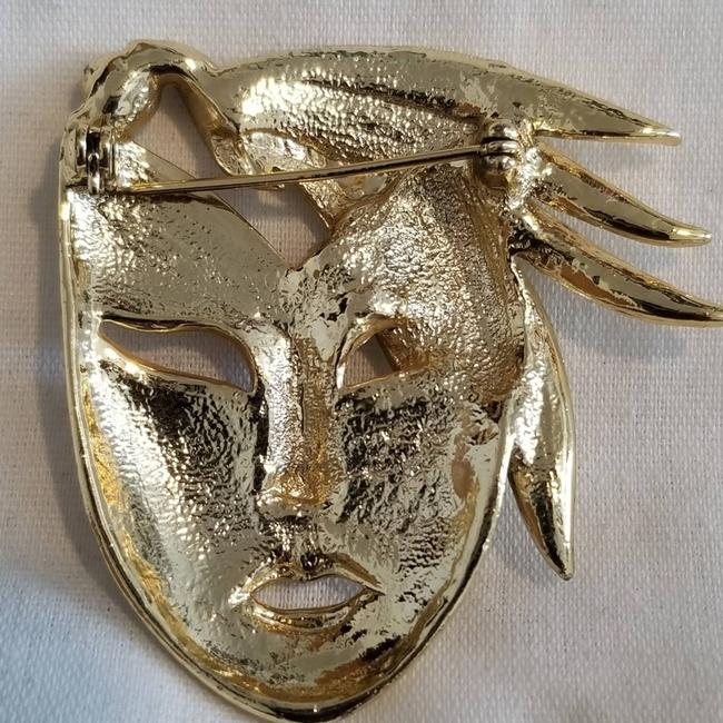 Vintage Gold 1980's Art Deco Face with Cz Brooch/Pin Vintage Gold 1980's Art Deco Face with Cz Brooch/Pin Image 4