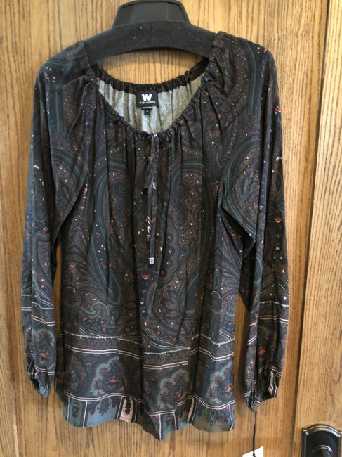 Item - Bottle Green Boatneck Paisley Blouse Size 6 (S)