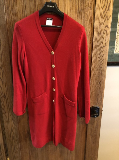 Item - Red Cashmere with Gold Embellished Buttons. Knee Length Cardigan Size 12 (L)