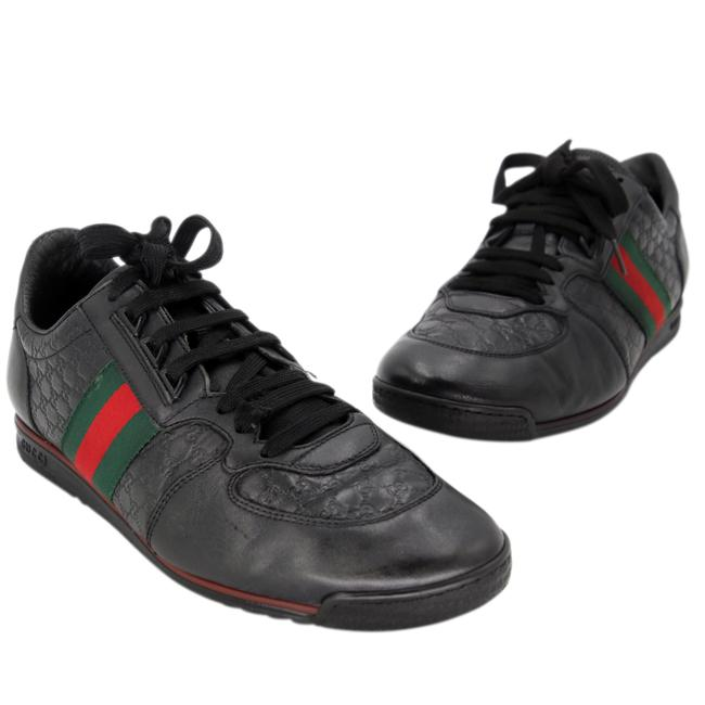 Item - Black ssima Leather and Classic Web Men's Sneakers Size US 8.5 Regular (M, B)