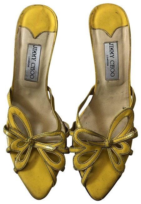 Item - Yellow Womens Heels Leather Butterfly Strappy Wedges Pumps Size US 9 Regular (M, B)