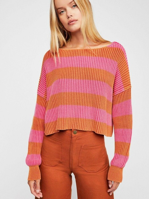Item - Womens Orange Just My Stripe Cropped Pink Sweater