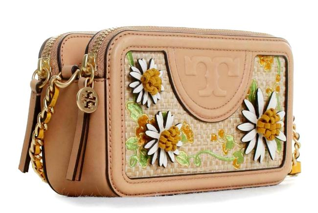 Item - Camera Fleming Embroidery Daisy Floral Tan Leather Cross Body Bag