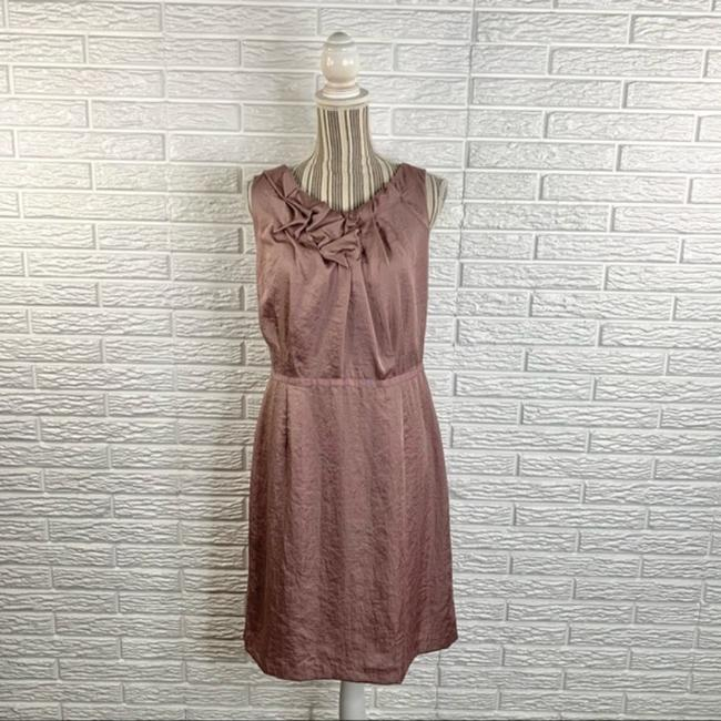 Item - Pink Ruched and Ruffled Short Work/Office Dress Size 14 (L)