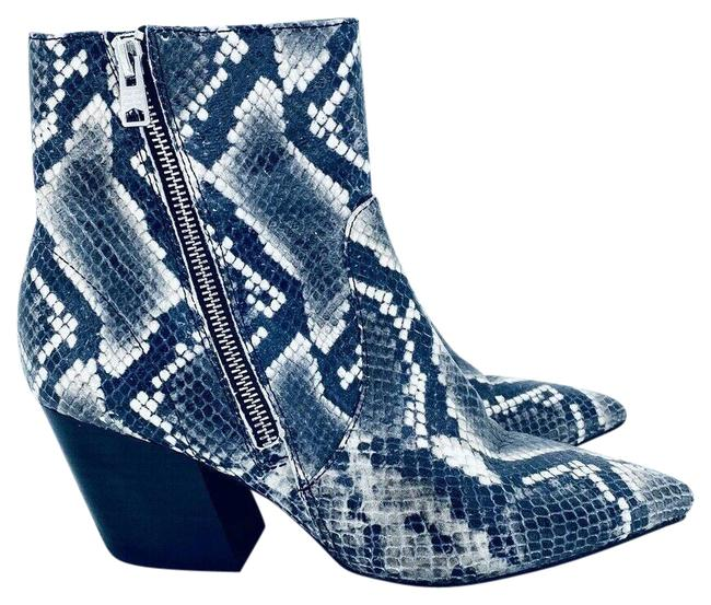 Item - Grey Black Aster Snake Print Leather Western Ankle Boots/Booties Size EU 39 (Approx. US 9) Regular (M, B)