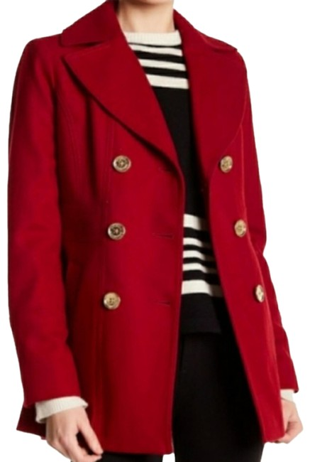 Item - Red Double Breasted Wool Peacoat Jacket Size 4 (S)