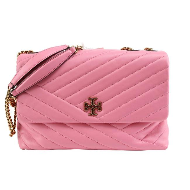 Item - Flap Kira Chevron Quilted Shoulder Pink Leather Cross Body Bag
