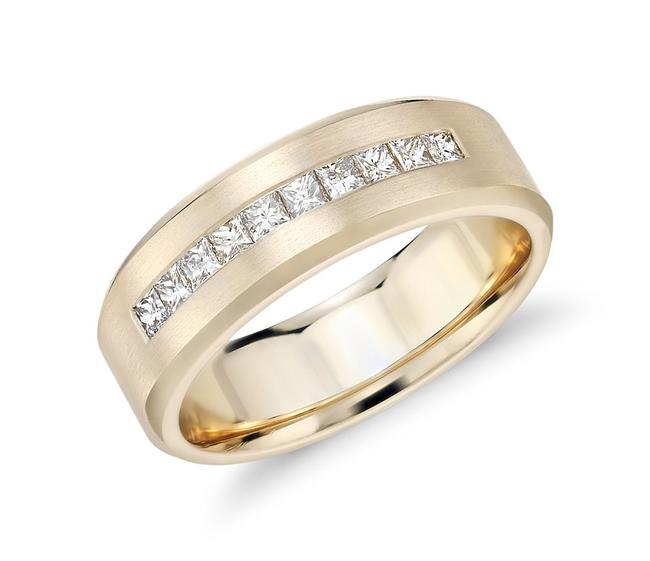 Item - 14k Yellow Gold 0.50 Princess-cut Channel-set Ring In Men's Wedding Band