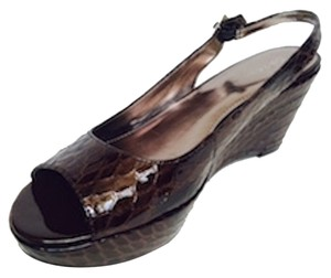 Calvin Klein Patent Leather Brown Platforms
