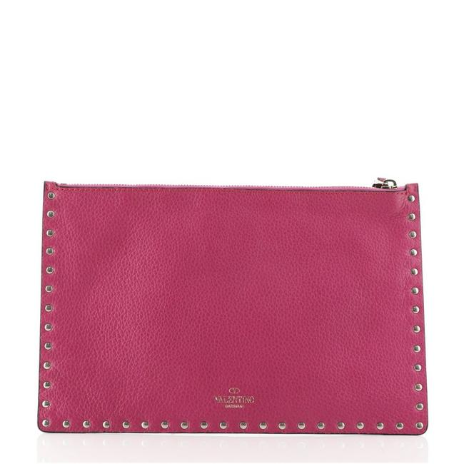Item - Rockstud Pouch Large Pink Leather Clutch