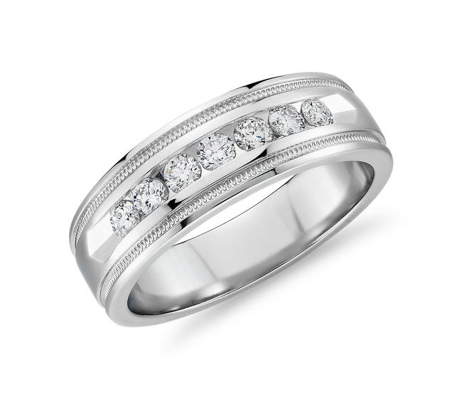 Item - 14k White Gold 0.80ct Channel Set Ring In Men's Wedding Band