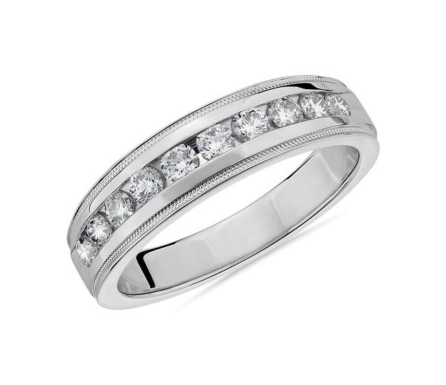 Item - 14k White Gold 1.00ct Channel Set Ring In Men's Wedding Band